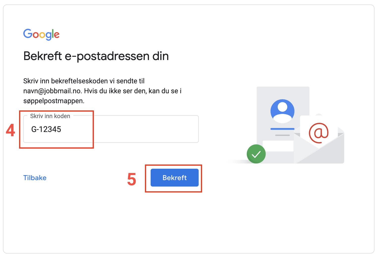 E-postbekreftelse Google-konto