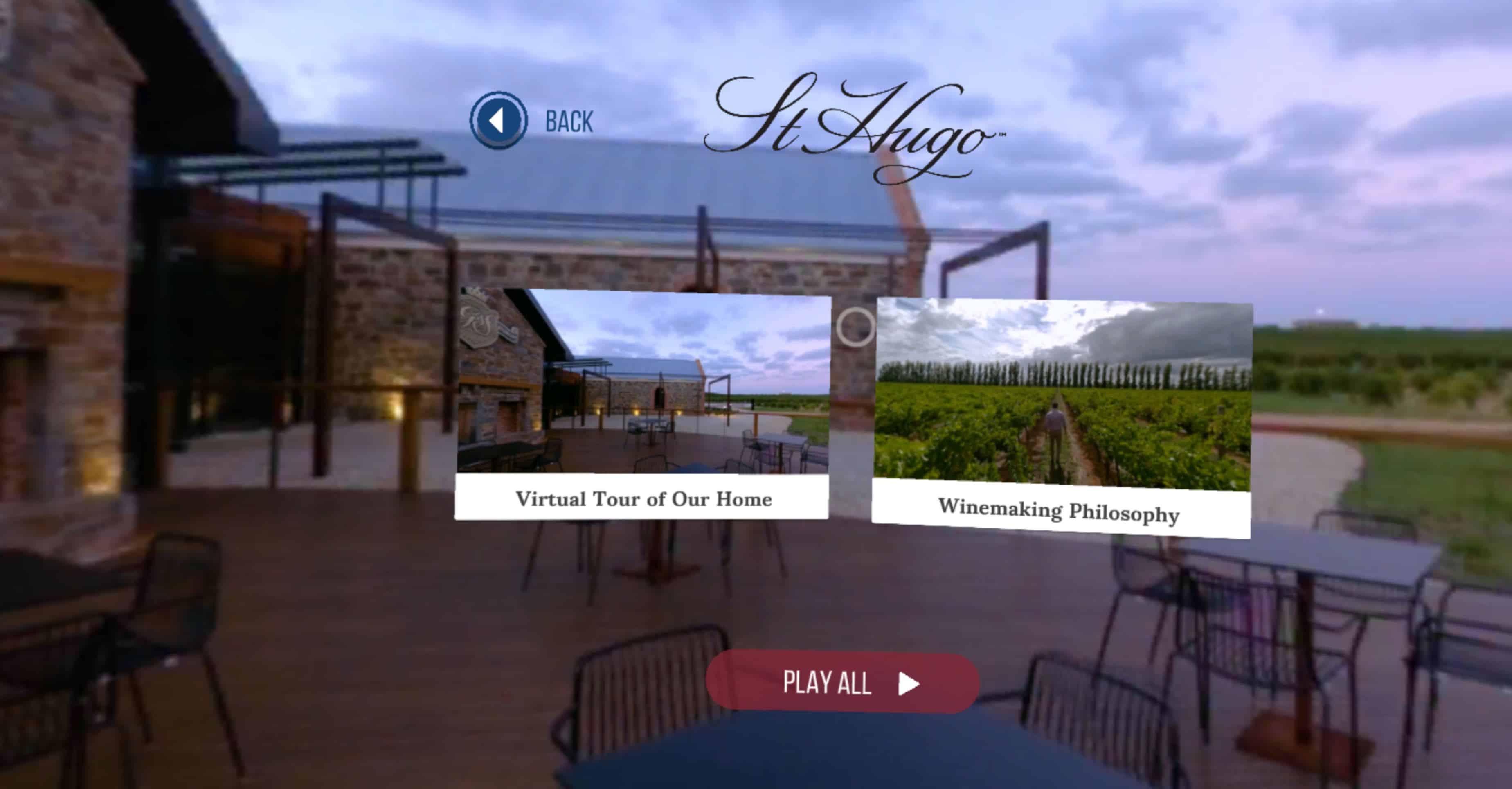 St Hugo Wines VR Menu