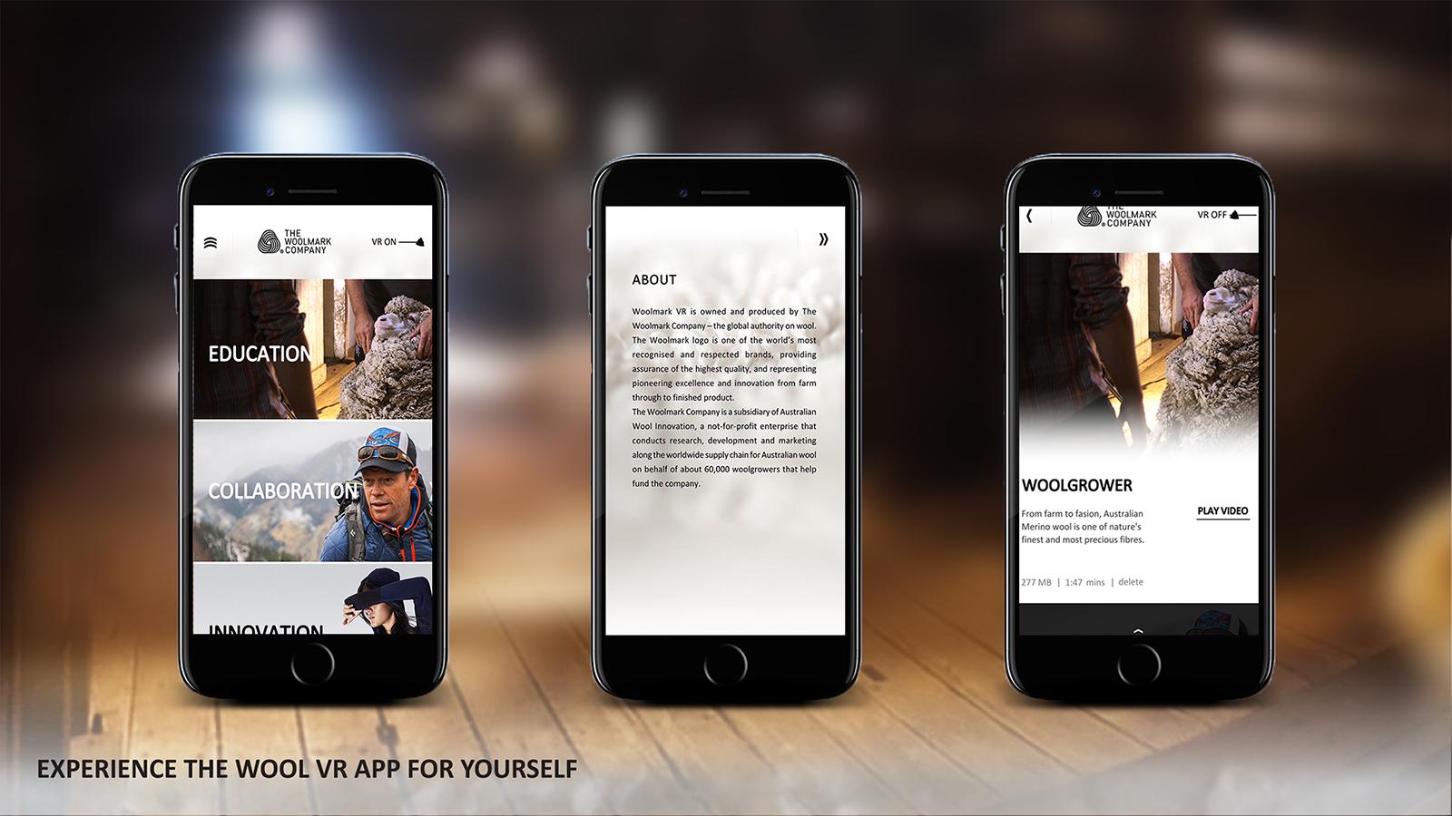 Woolmark VR Menu mobile screen mockup 01