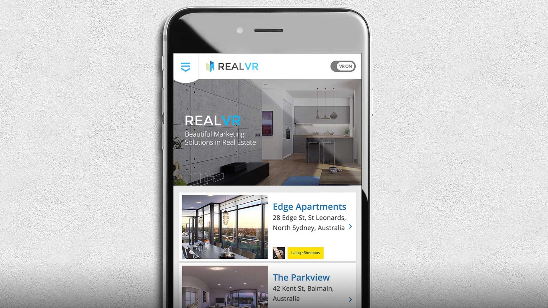 Real VR home screen mockup