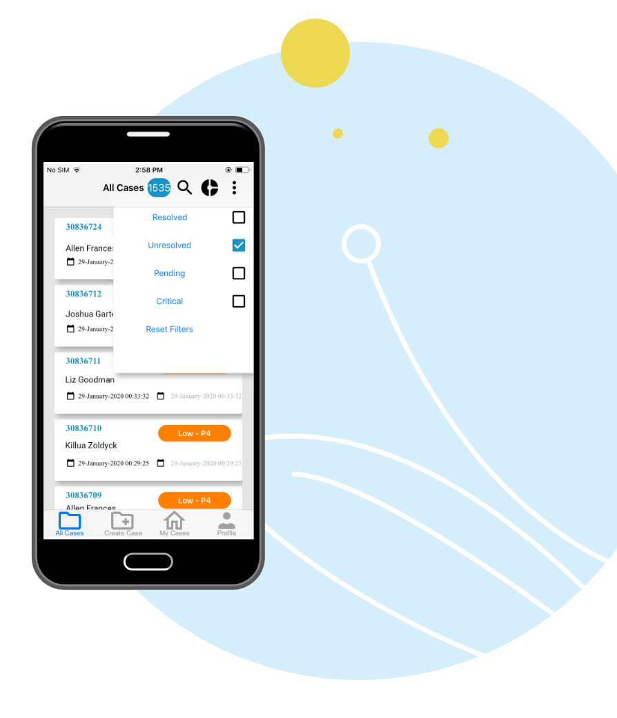 Wolke Mobile App Case Filters