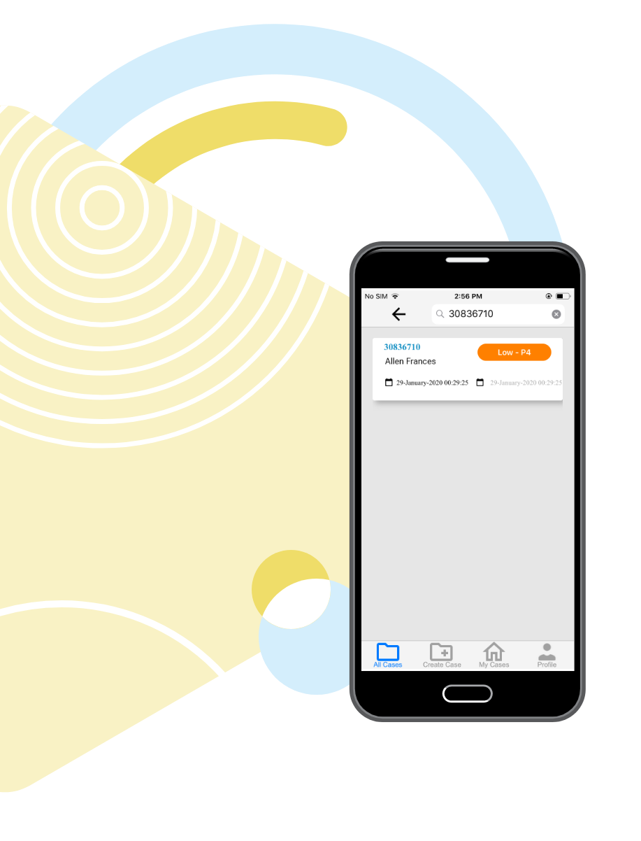 Wolke Mobile App Search by Case ID