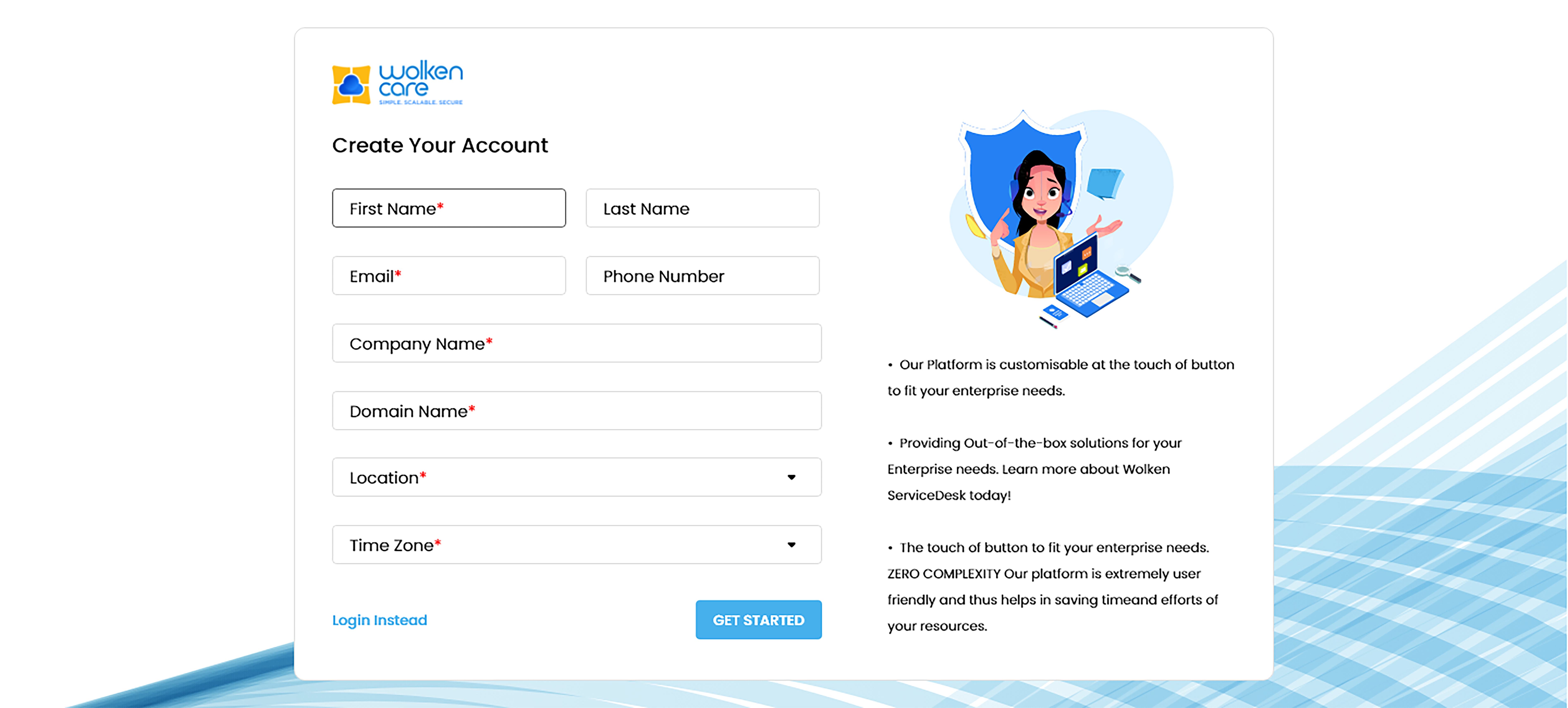 Wolken Sign Up Page
