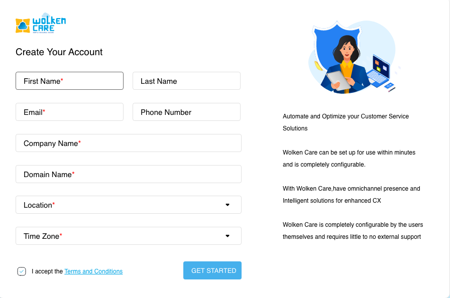 Wolken Care Sign Up Page