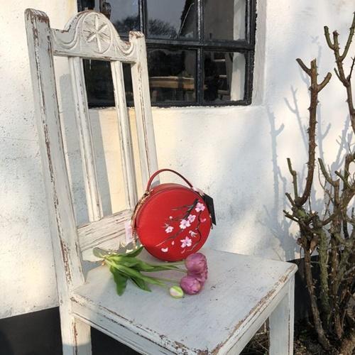 Fiene Blum -  Kirschblüte - Handbemalte Markenledertasche