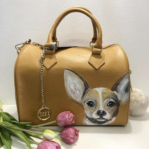 Fiene Blum - Chihuahua - Handbemalte Markenledertasche