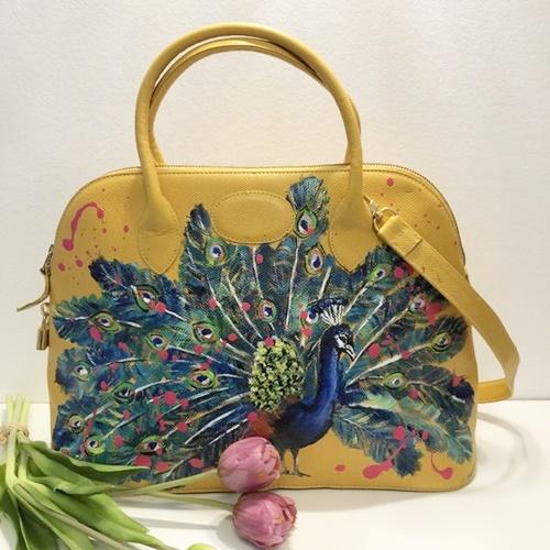 Fiene Blum - Pfau - Handbemalte Markenledertasche