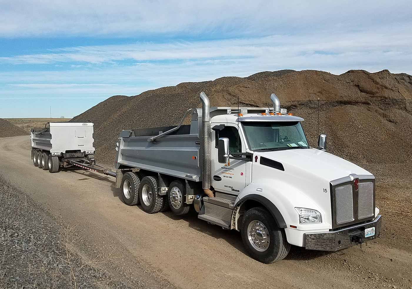 Anchor Hauling Semi and Pup for hauling gravel.