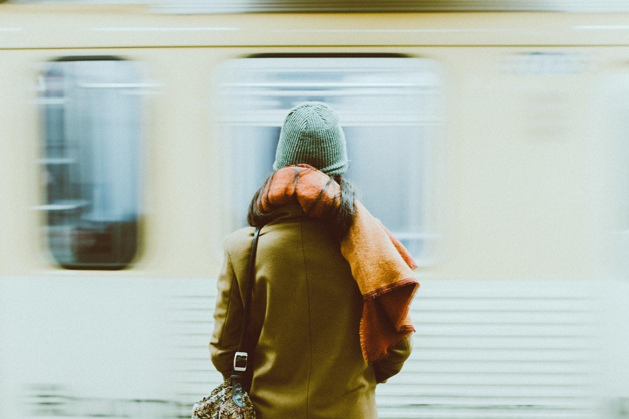 Girl waiting for public transport.