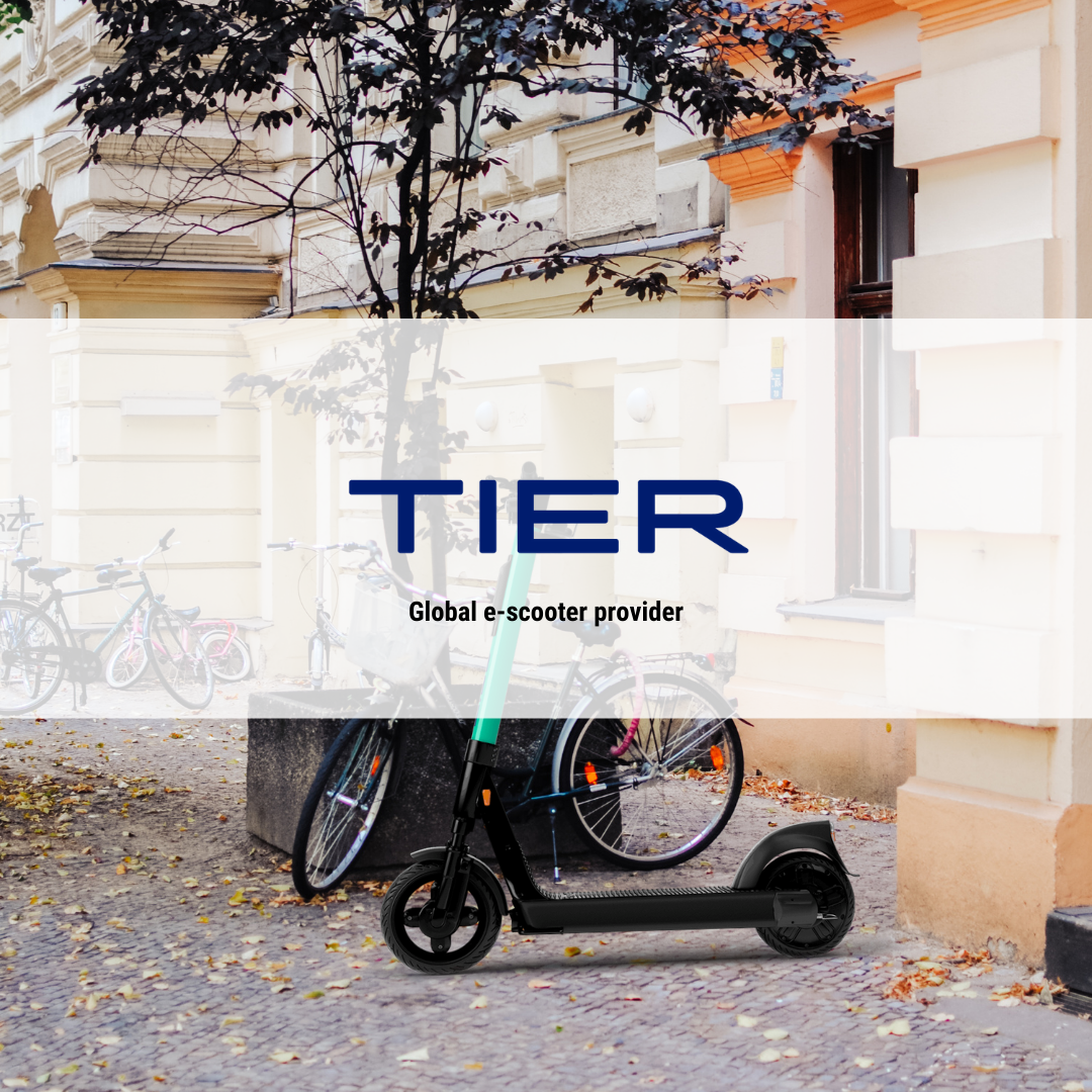Image of e-scooters in city.