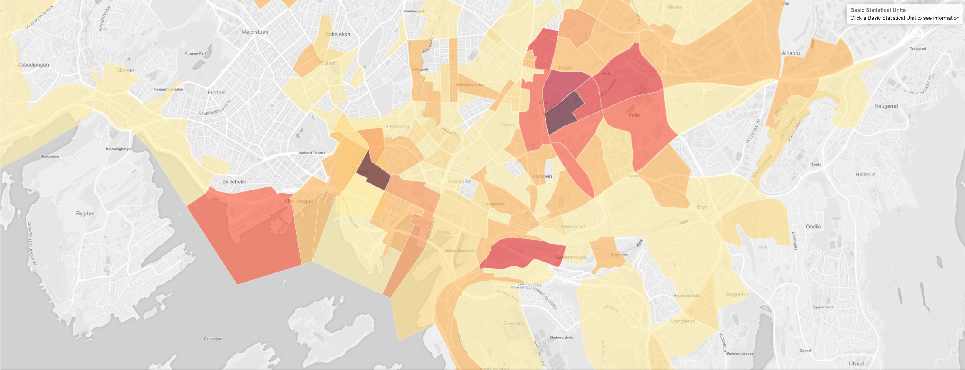 Heat-map showing density in part of Oslo.