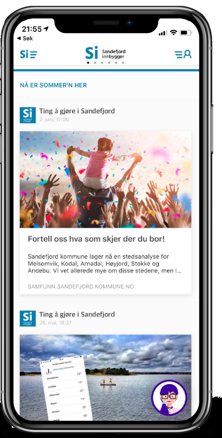 Screenshot from the Sandefjord Innbygger citizen app.