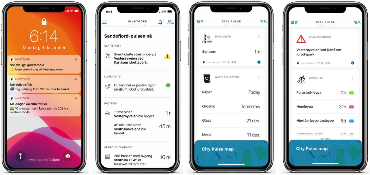Examples from the Sandefjord Innbygger citizen app showing messages aimed to inform and aid citizens.