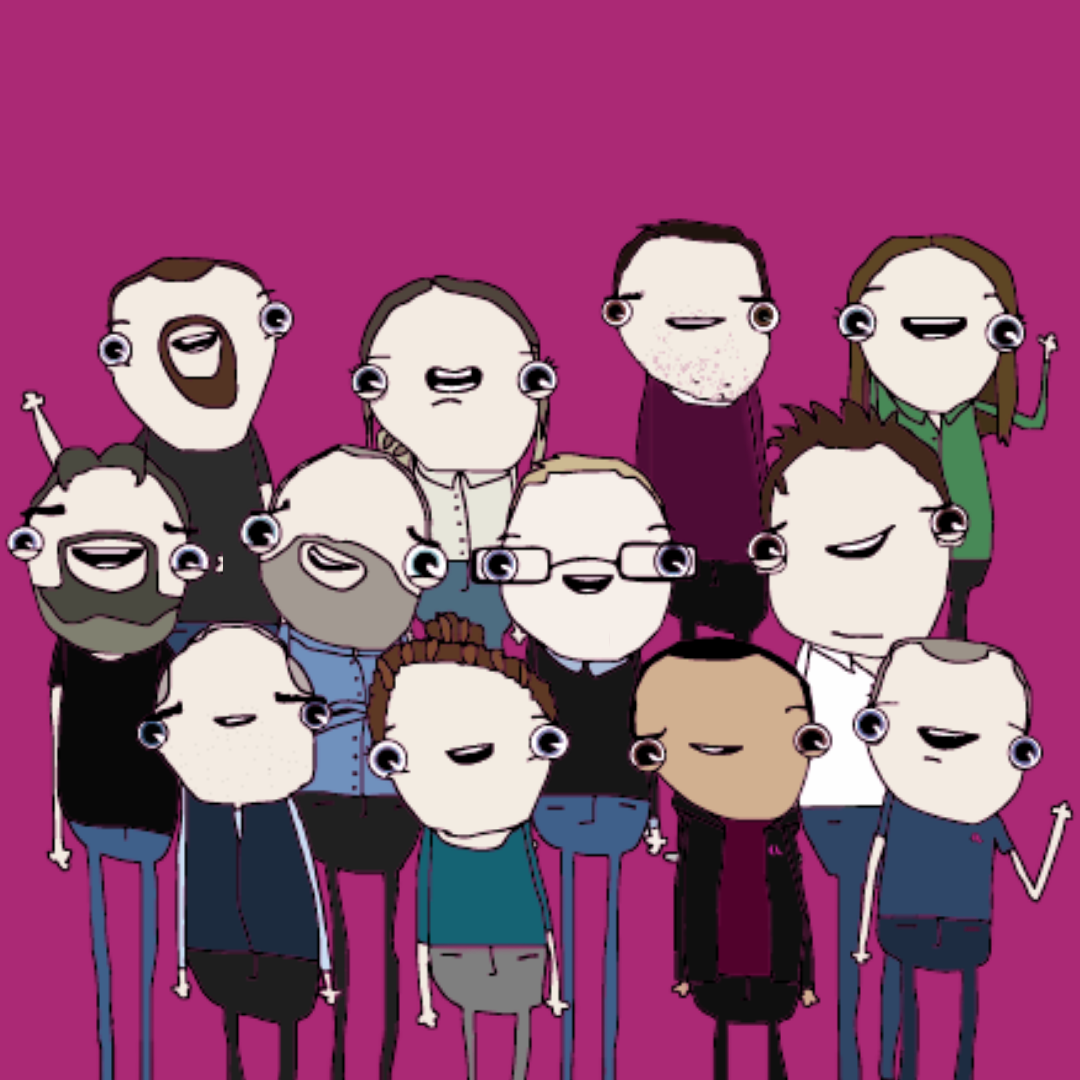 Fun drawing of fluxLoop employees.