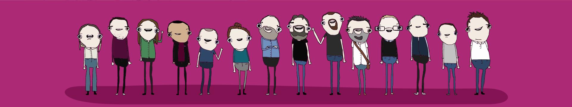 Cheerful drawing of fluxLoop employees.