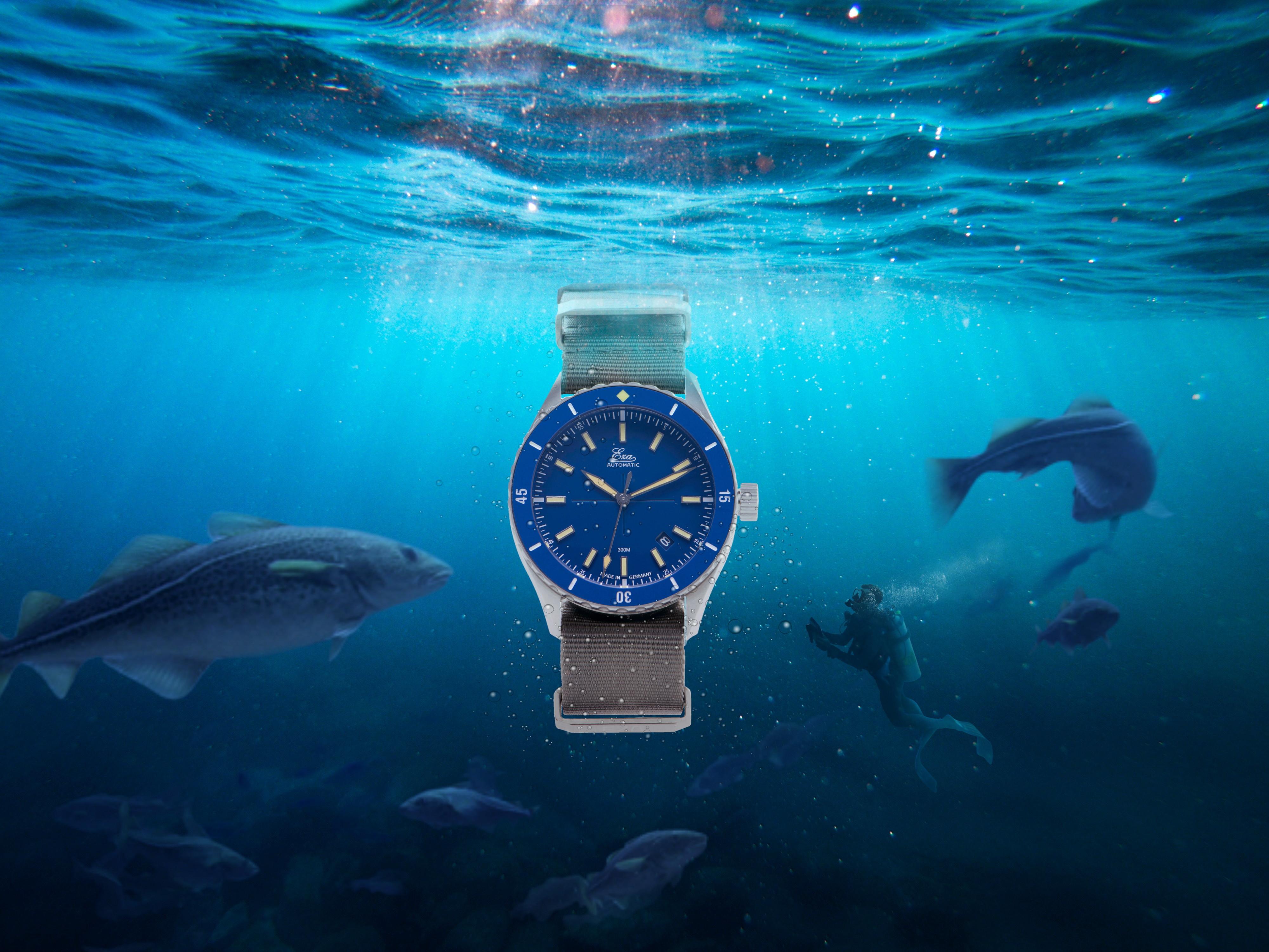 Horloge onderwater vergezelt door een duiker en vissen