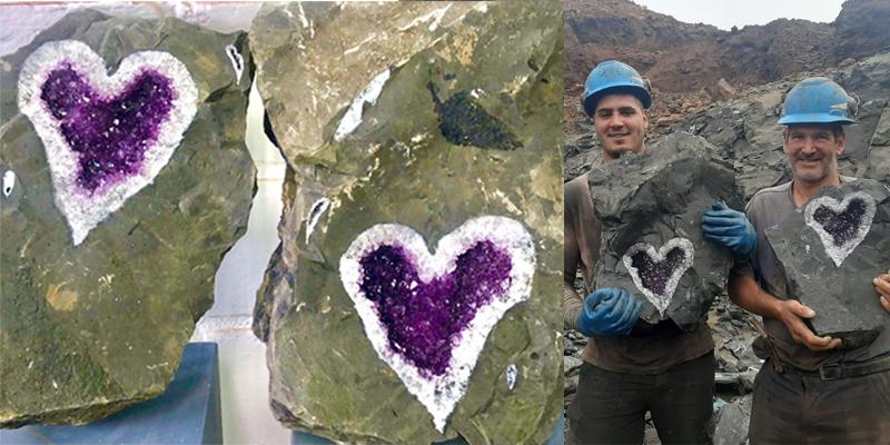 Hartvormige amethist gevonden in Uruguay
