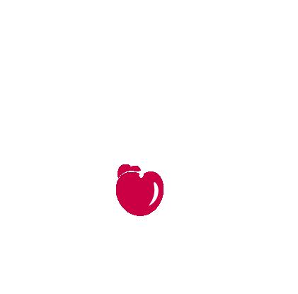 Halfblock valkoinen logo punaisella kirsikalla