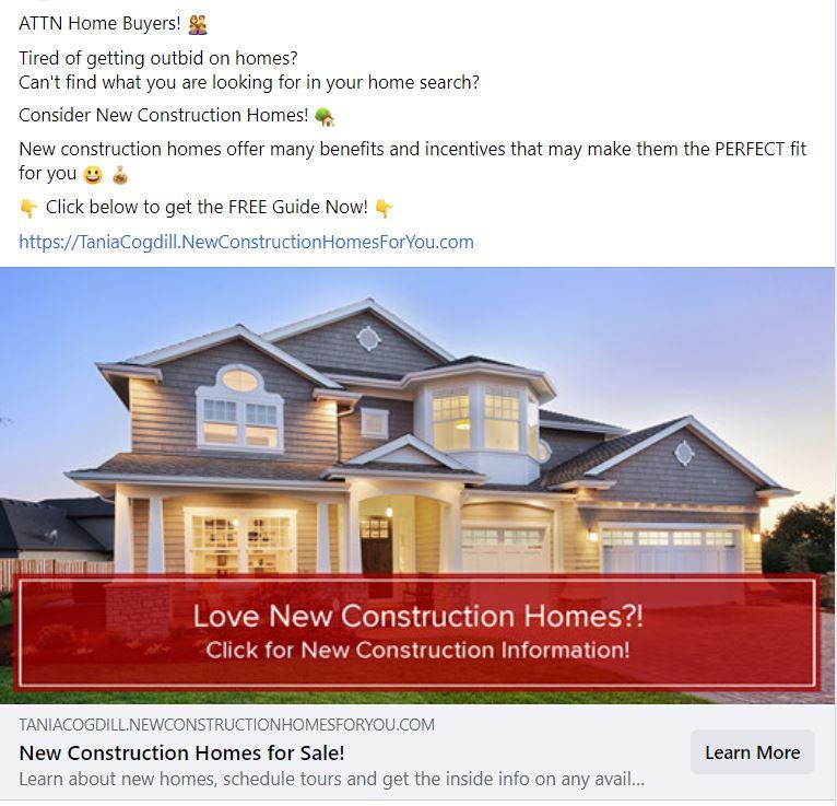 New Construction Lead Generation Ad.