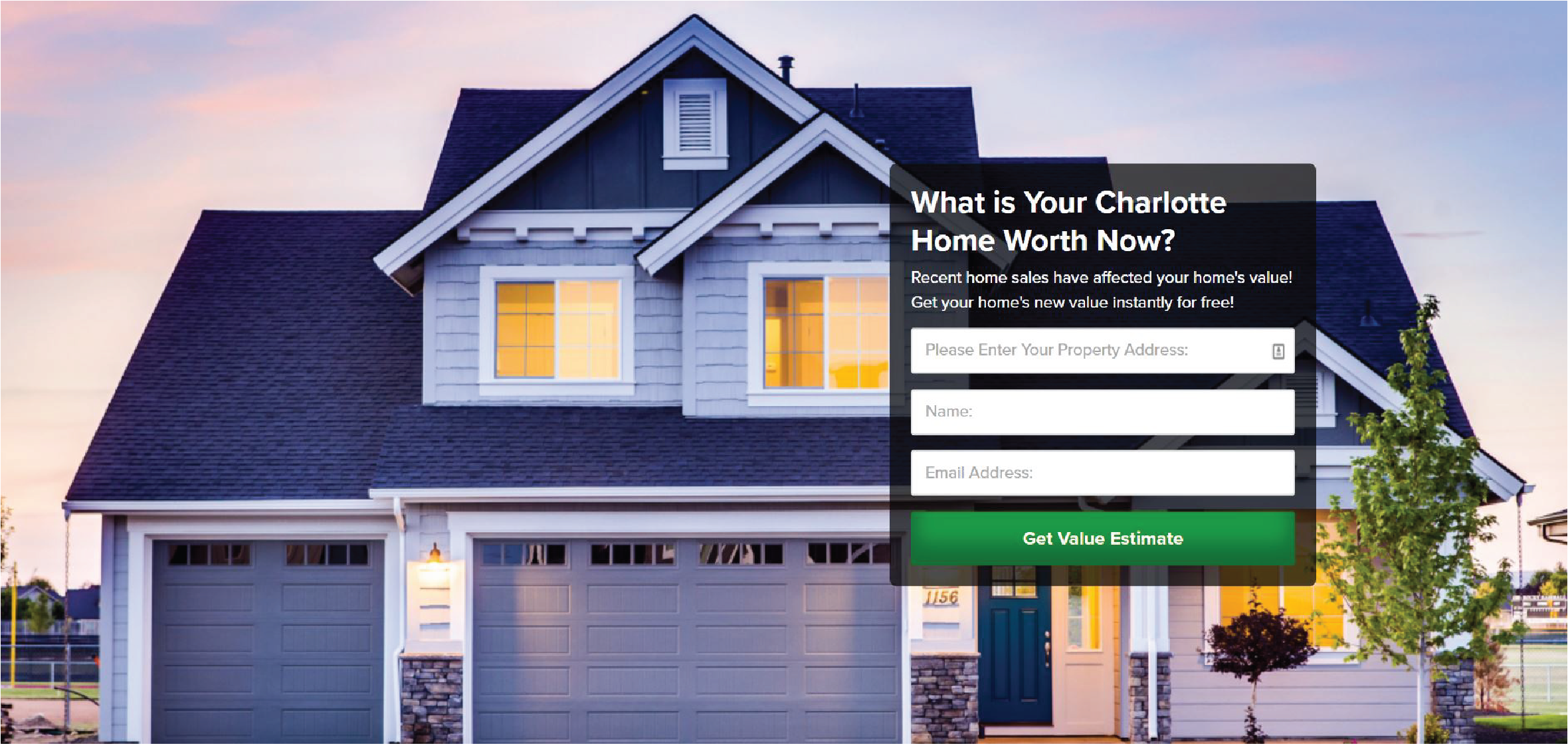 Home Evaluation Landing Page.