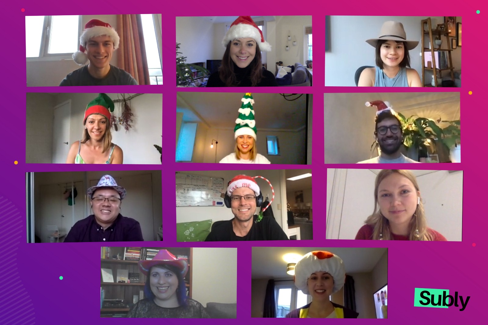 Subly team festive photo for holidays on online call