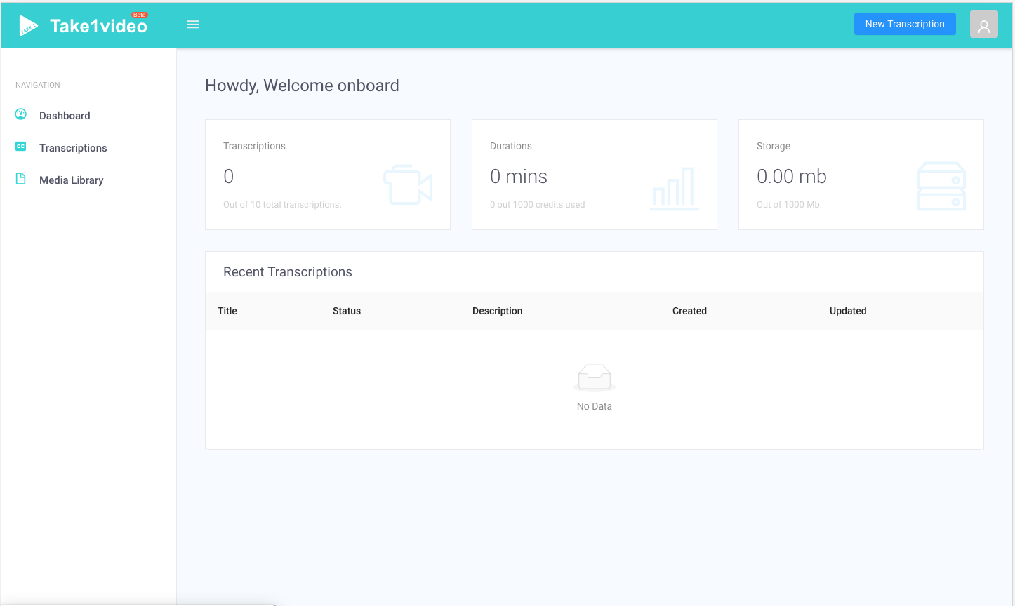 screenshot of take 1 video user interface of the dashboard