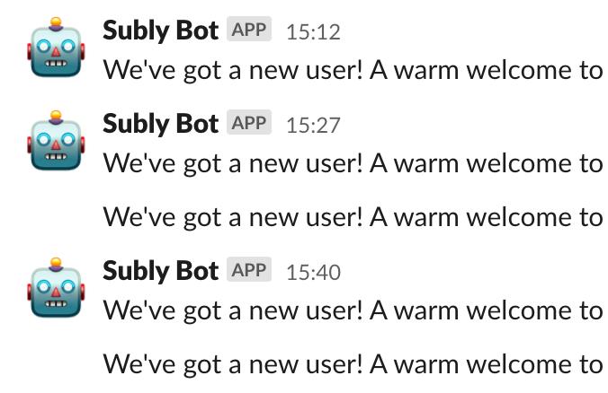 image of subly bot sending slack notifications