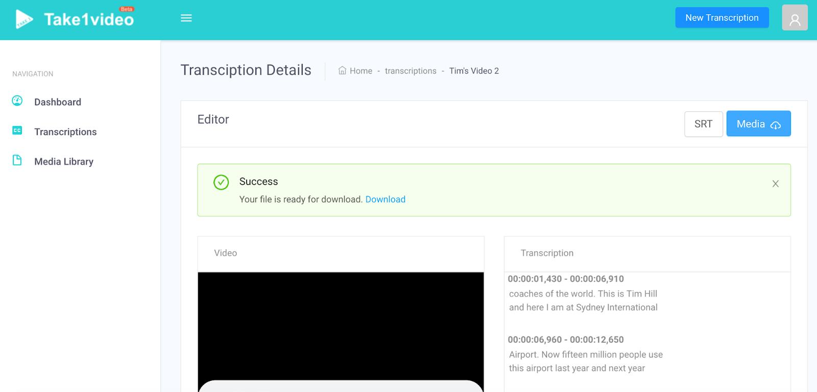 screenshot of take 1 video user interface of the editor
