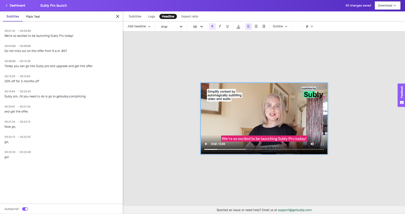 screenshot of subly pro for creators editor