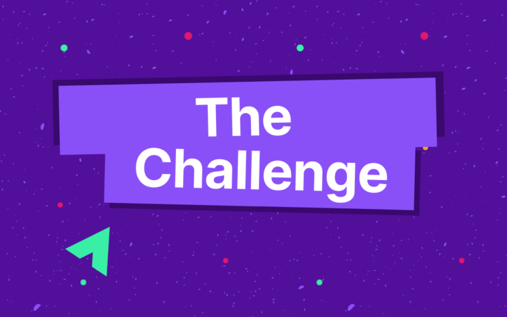 Text, the challenge on purple background