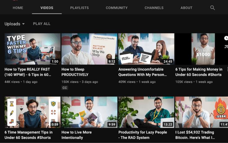 Screenshot of ali abdaal's youtube channel