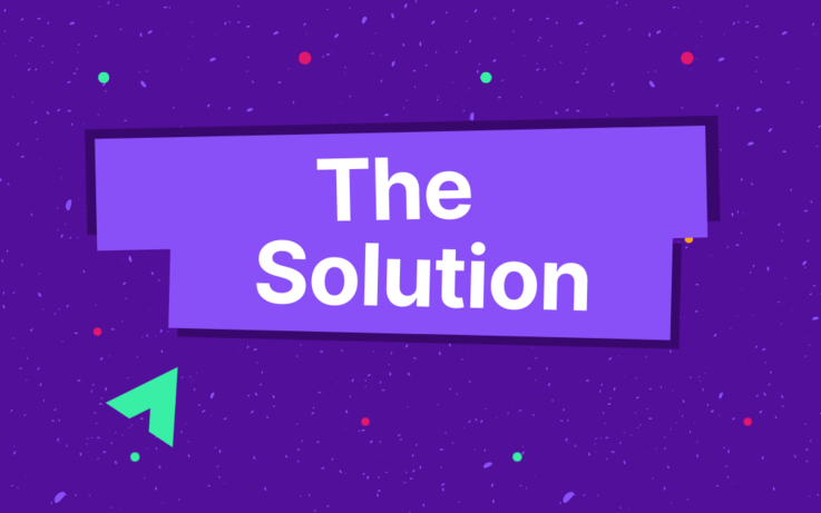 Text, the solution on purple background