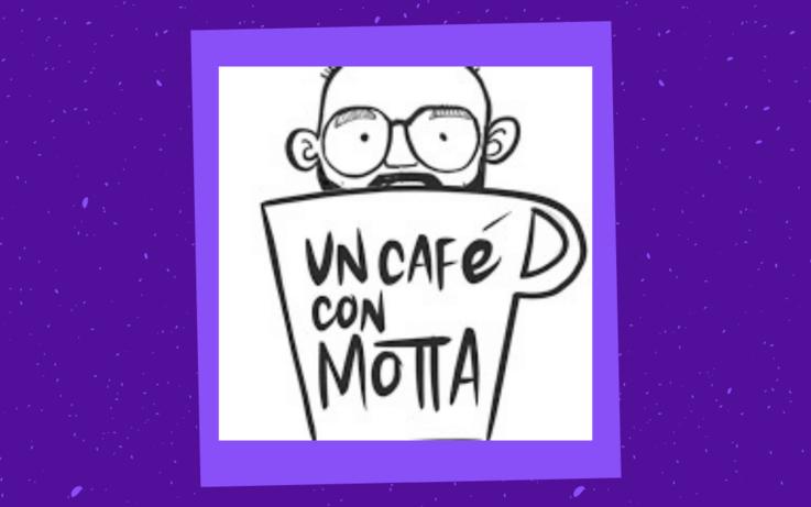 un cafe con motta logo, man in coffee cup