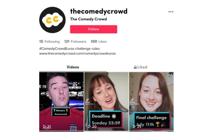 Screenshot of comedy crowd's tiktok page