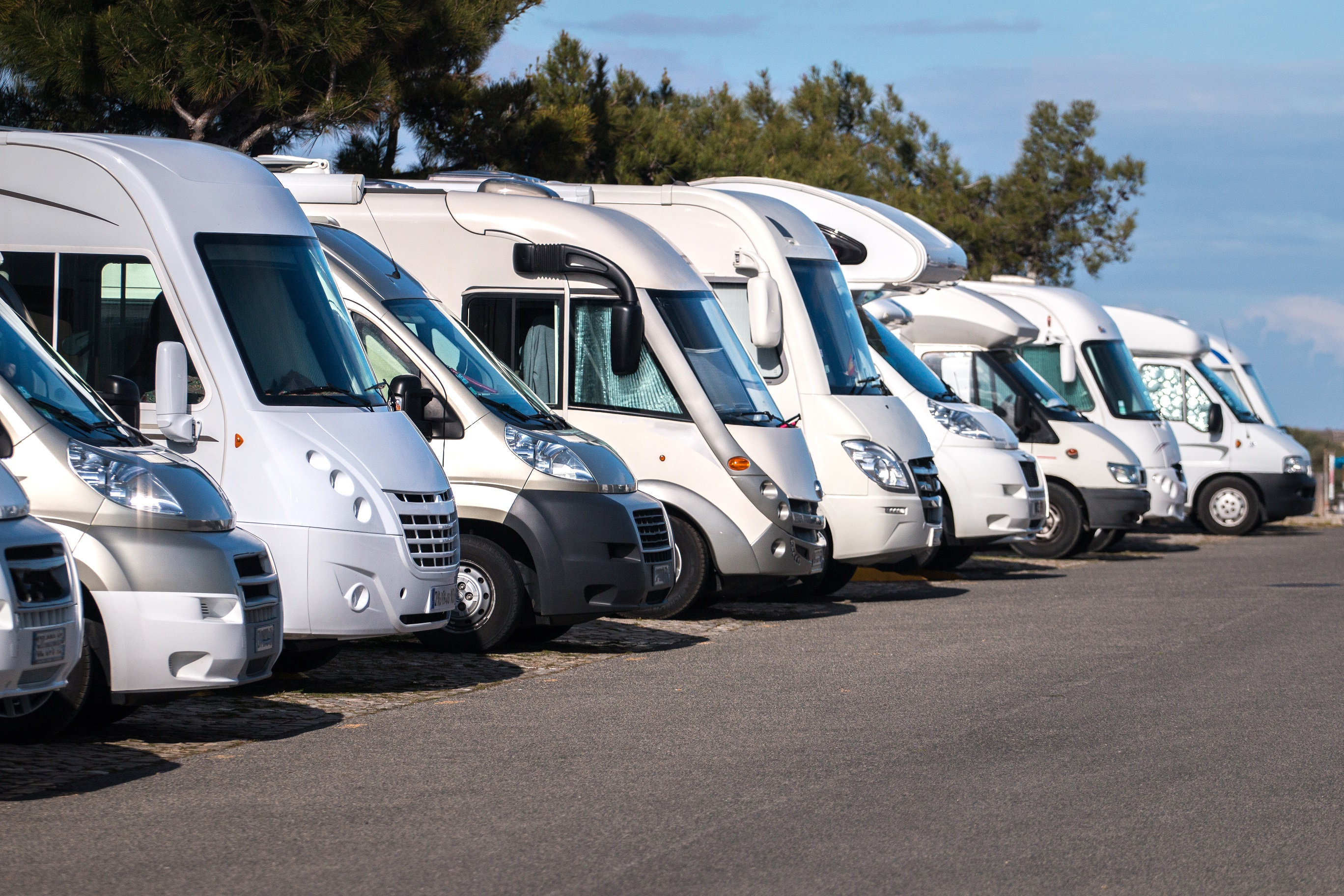 photo of a line of motorhomes