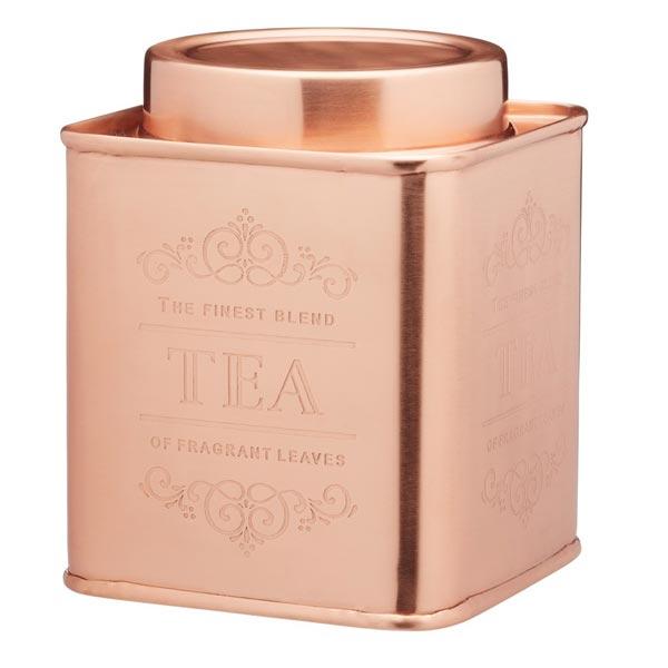 Tea Storage Tin - Square Copper Colour