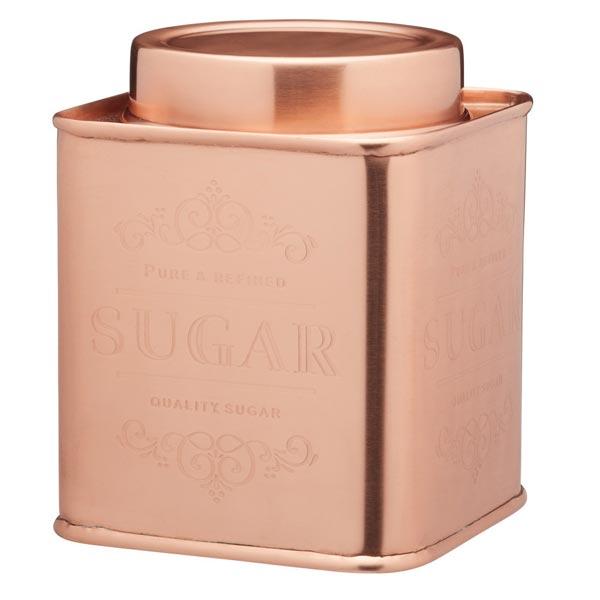 Sugar Storage Tin - Square Copper Colour