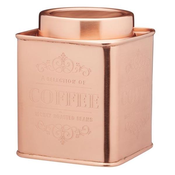 Coffee Storage Tin - Square Copper Colour