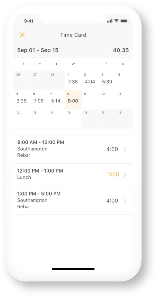 Hourly app Time Card View