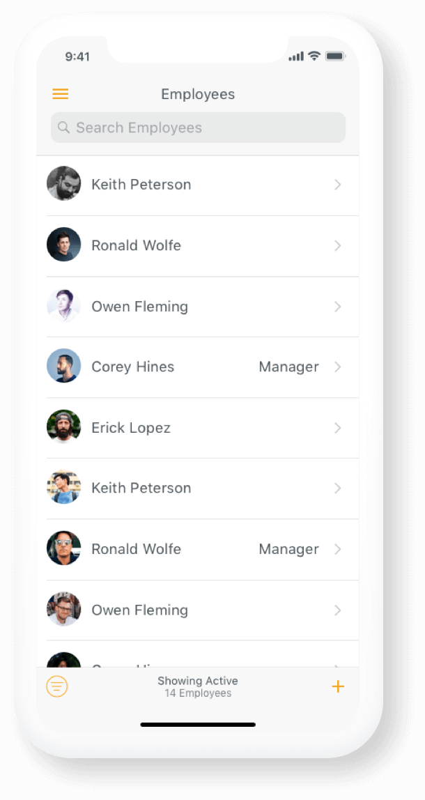 The Hourly app list of employees view
