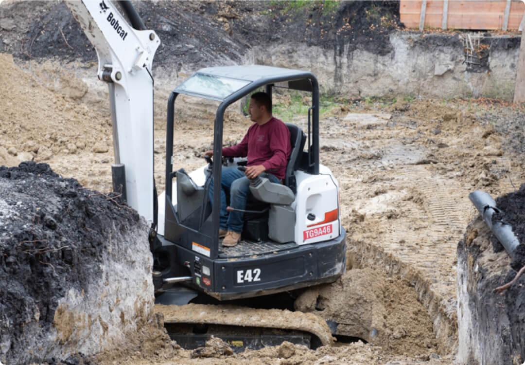 Hourly customer Angel's Excavation and Construction while excavating the land