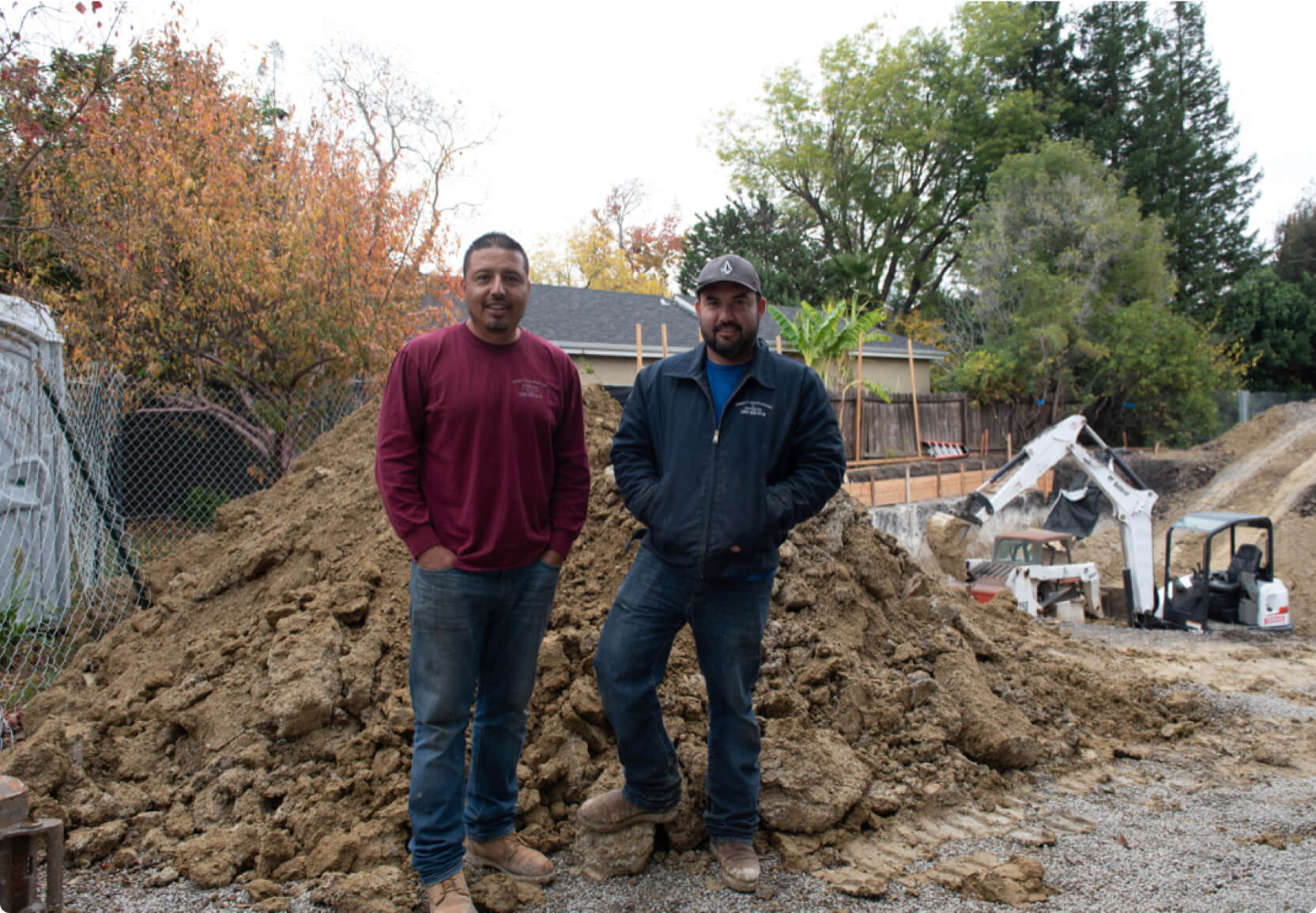 Hourly customer Angel's Excavation and Construction Edgar Ochoa with his co-worker on the field