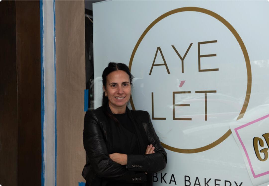 Hourly customer Ayelet Nuchi in front of Babka by Ayelet bakery.