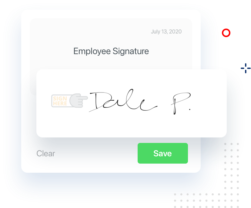 Illustration of Employee signature in our app.