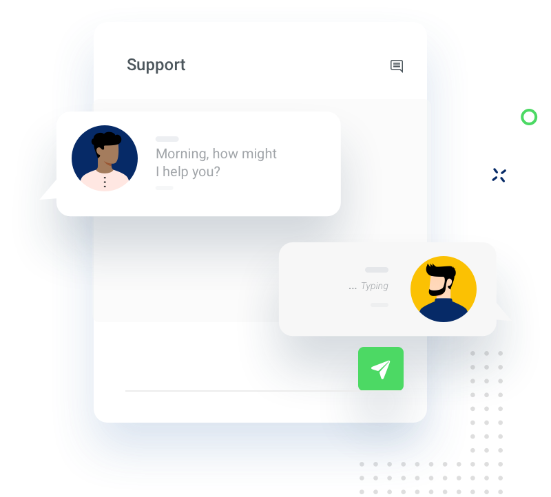 Illustration of Support chat component in our App.