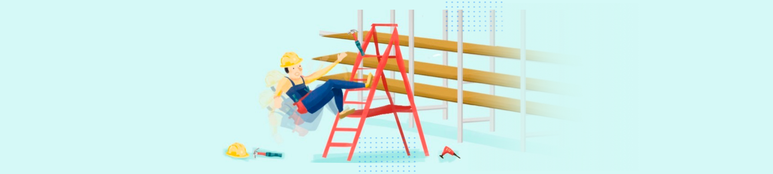 Illustration of guy falling from  ladder at construction.