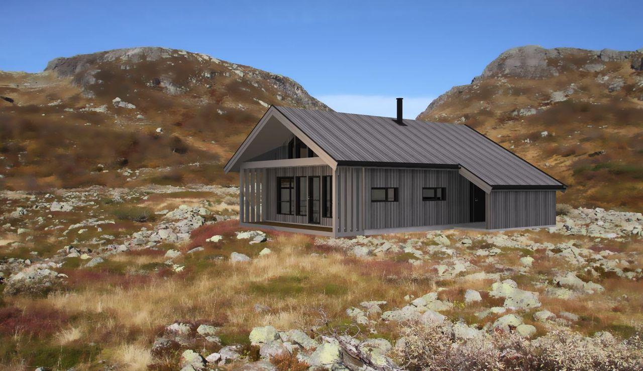 Illustrasjon av hytte