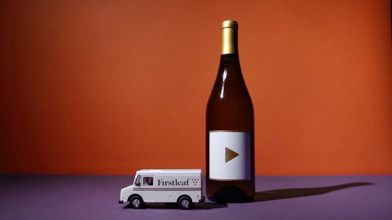 bottle of wine with toy truck