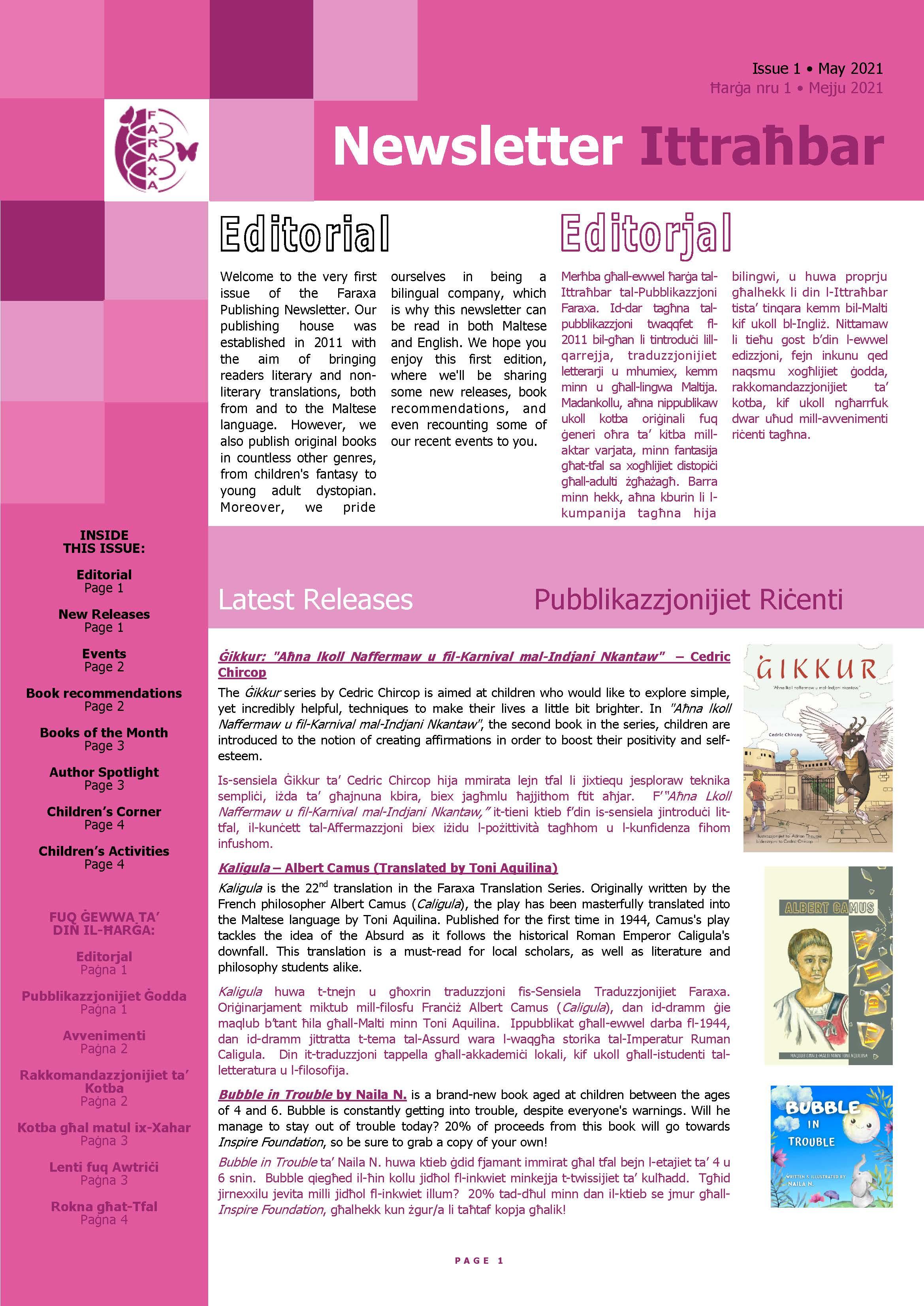 Faraxa Newsletter Issue 1