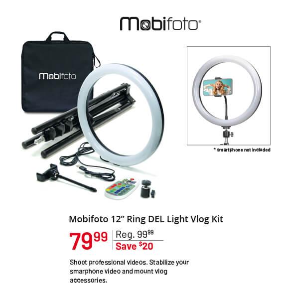 "Mobifoto 12"" Ring LED Light Vlog Kit"